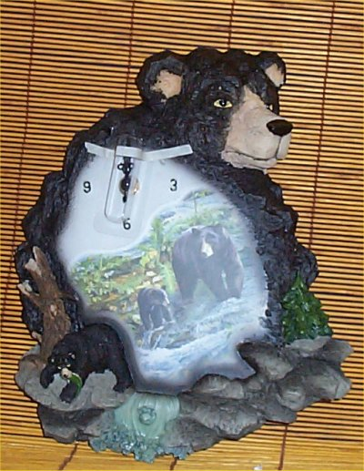 Black bear wall clock lodge cabin rustic home decor new ebay for Rustic bear home decor