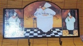 Fat Chef Wall Plaque Hooks Bistro Hot Pad Holder Decor B/org