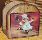 Fat Chef Solid Wood Napkin Holder Golden Oak Brick Chefs Bistro Home decor