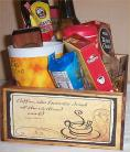 Coffee Gift Basket 2 Mugs Candy Creme Syrup Hot ChocolateWood Coffees Crate