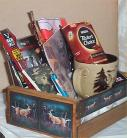 Deer Hunters Wood Crate Gift Basket Coffee Mug Cookies Candy Nuts Cards Jerky