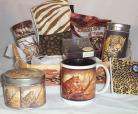 Leopard Gift Basket COFFEE TEA Cookies Mug Towel Coaster Candy Candle Safari