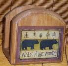 Bear Napkin Holder Solid Wood Lodge Kitchen Cabin New